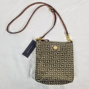 Tommy Hilfiger Brown Monogram Canvas Crossbody Bag